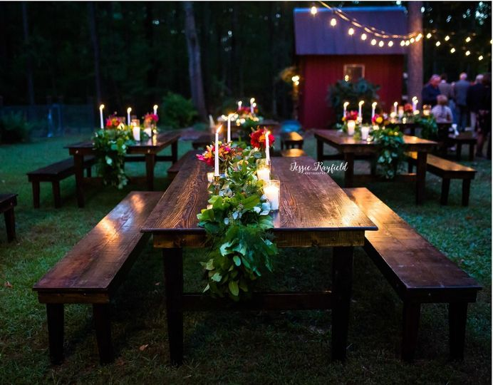 Beautiful farm table seating for fall wedding