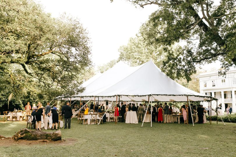 Sail cloth tent at wavering place plantation