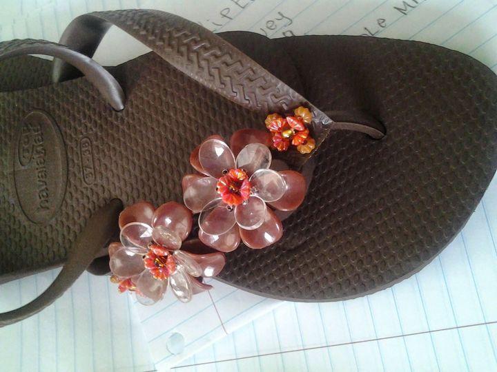 havaianas custom made with beads $55.00