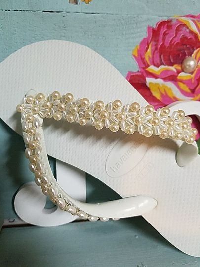 Havaianas custom made with beads and crystals