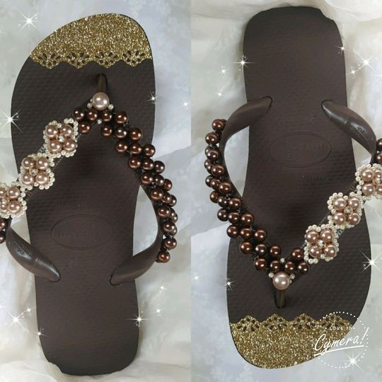 Havaianas brown custom made with beads and crystals