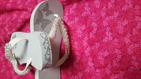 Havaianas white custom made with beads and crystals