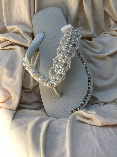 Havaianas custom made with crystals and beads