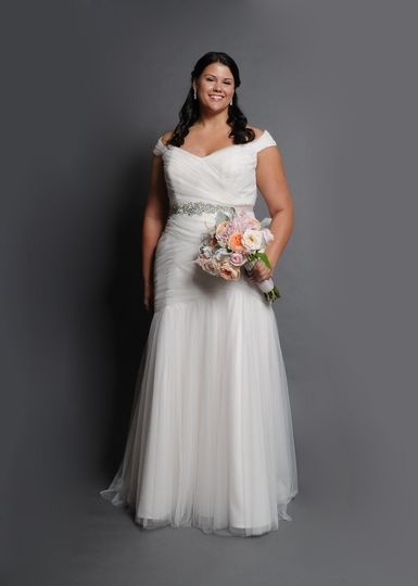 Tulle fitted drop waist wedding gown, Moscato blush and a beaded diamond belt.