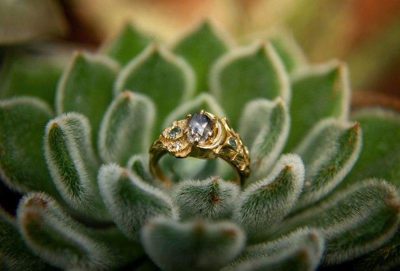 Engagement ring in plant