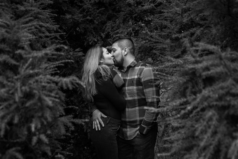 Engagement photo in black and white