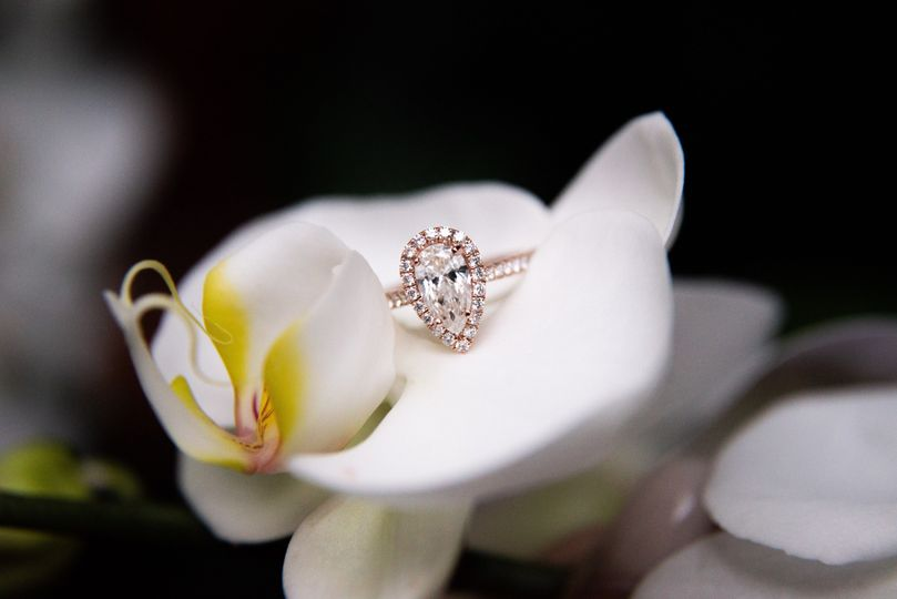 Engagement rings in a flower