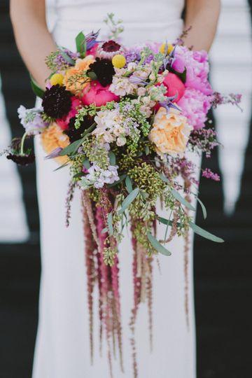 Colorful Floral Wedding Bouquet by La Vie Studios