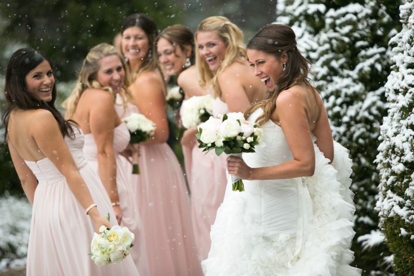 The bnride and her bridesmaids