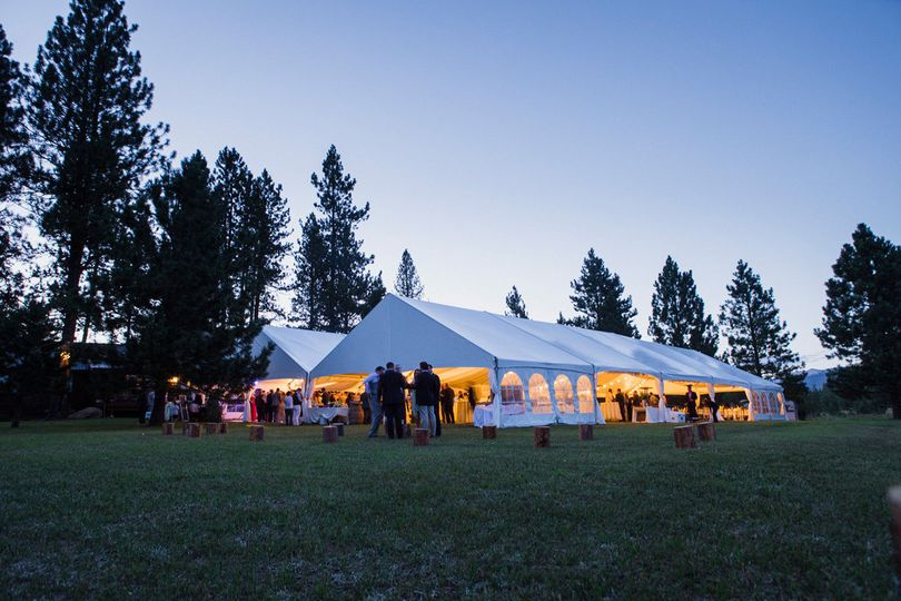 Lights under a tent for 350 guests is still outdoors...