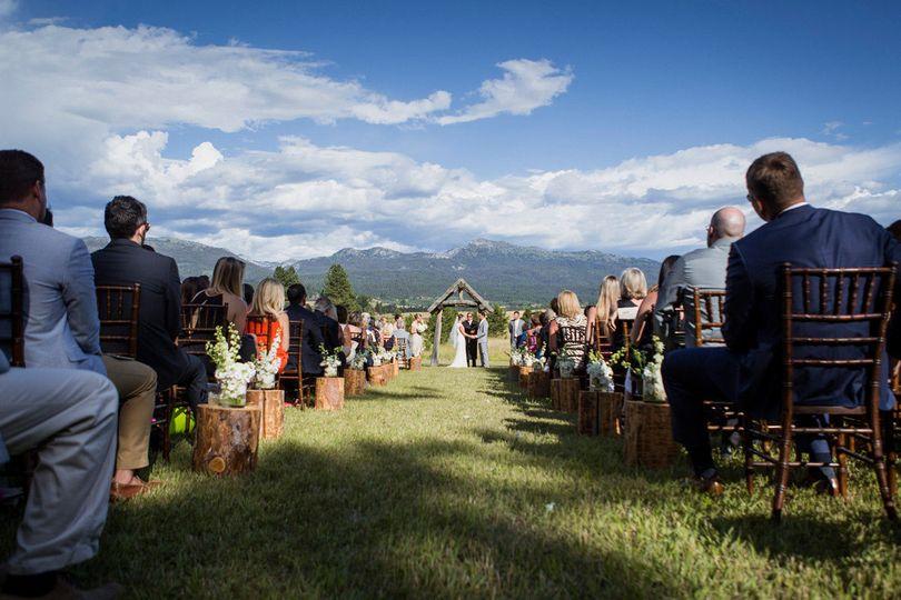 Mountains make this wedding magical.