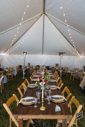 Elegant decor under a tent.