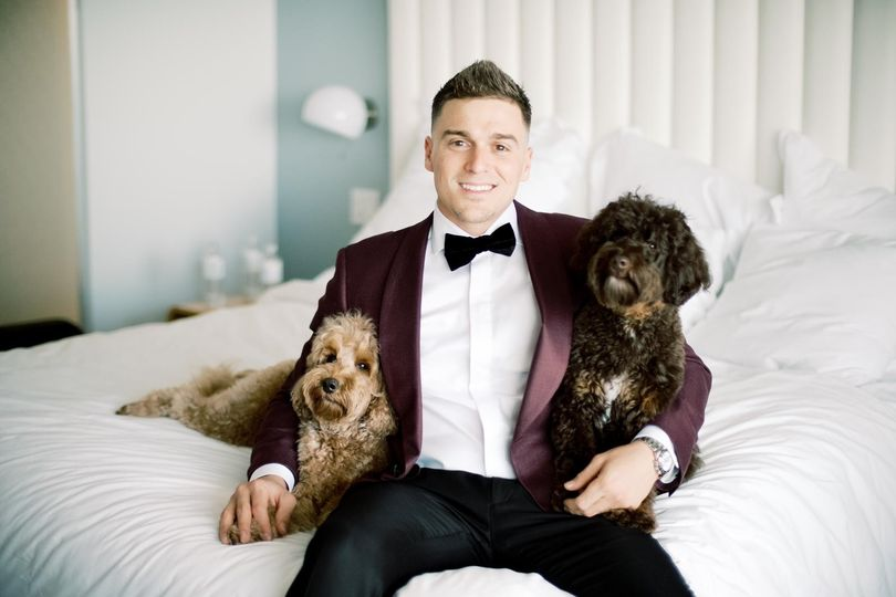 Groom with his furry friends