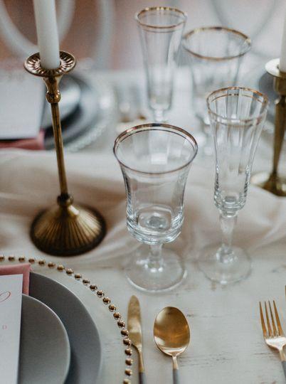 Gold rim glassware