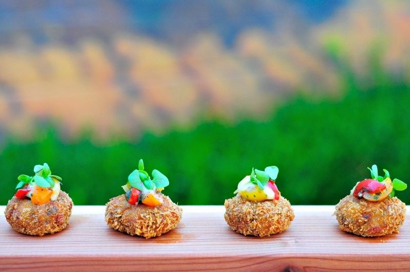 Dungeness crab and rock shrimp cakes with pasilla chili aioli and pickled corn salsa