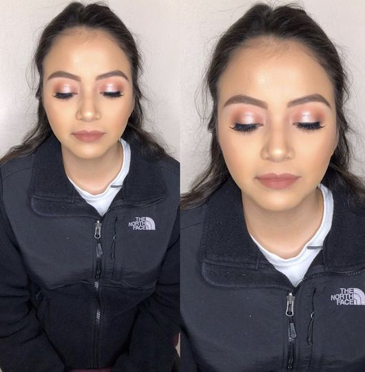 Pink halo eye look with a mauve lip!