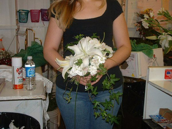 Bridal bouquet hand tied with Casablanca lilies.