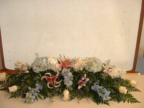 Centerpiece with stargazer lilies, blue hydranga, roses, stock.