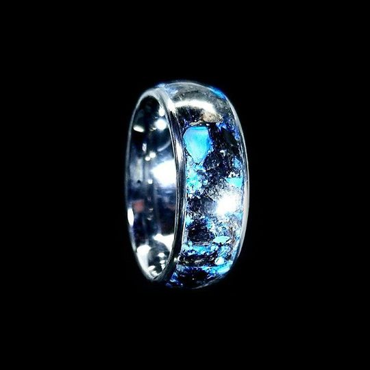 The Don - Megalodon fossil & blue jade inlaid glow ring - Wedding Band