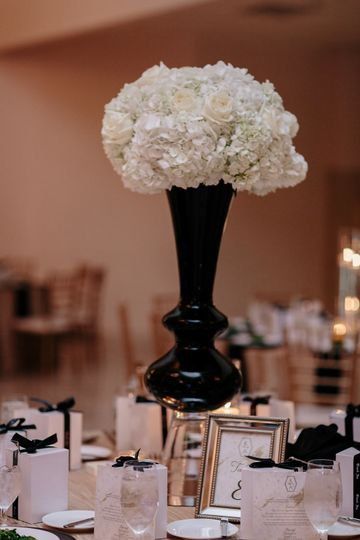 Tall white centerpiece