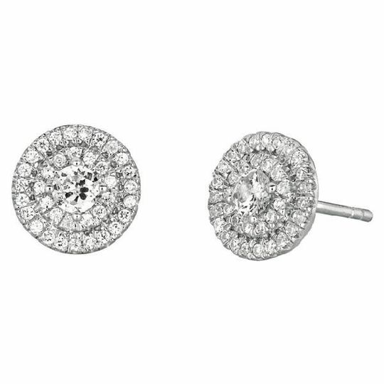 Double Halo Gold & Diamond Stud Earrings