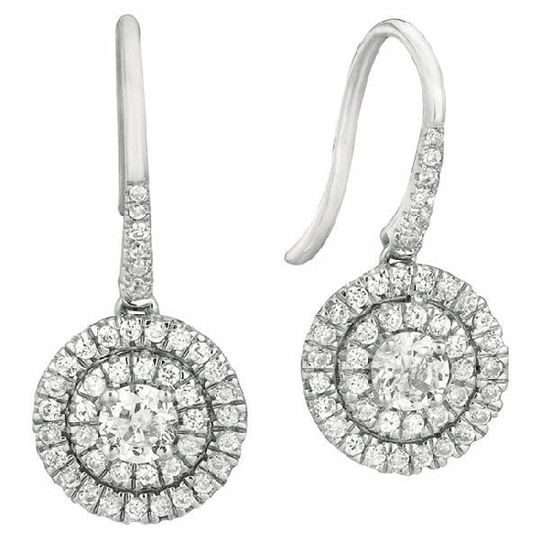 Dangling Double Halo Gold & Diamond Earrings