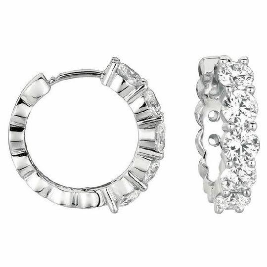 Shared Prong Gold & Diamond Hoop Earrings
