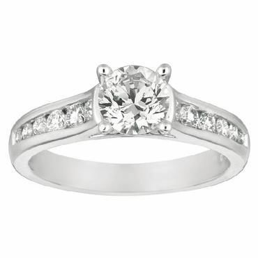 Channel Set Engagement Ring With a Soft Cathedral Shank