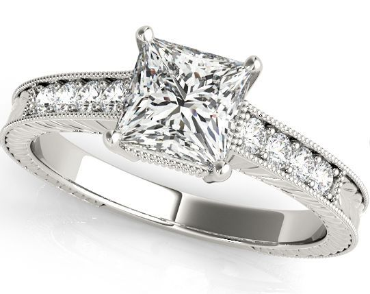 Antique Engraving with Milgrained Edges For A Princess Cut Diamond