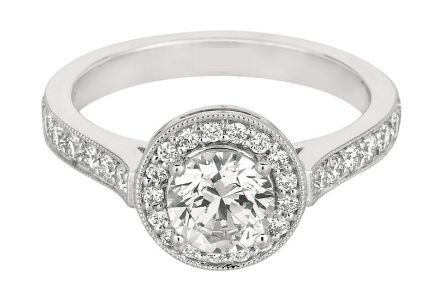 Bezel Set Center Stone With Micro Pave Halo Detailed Ring