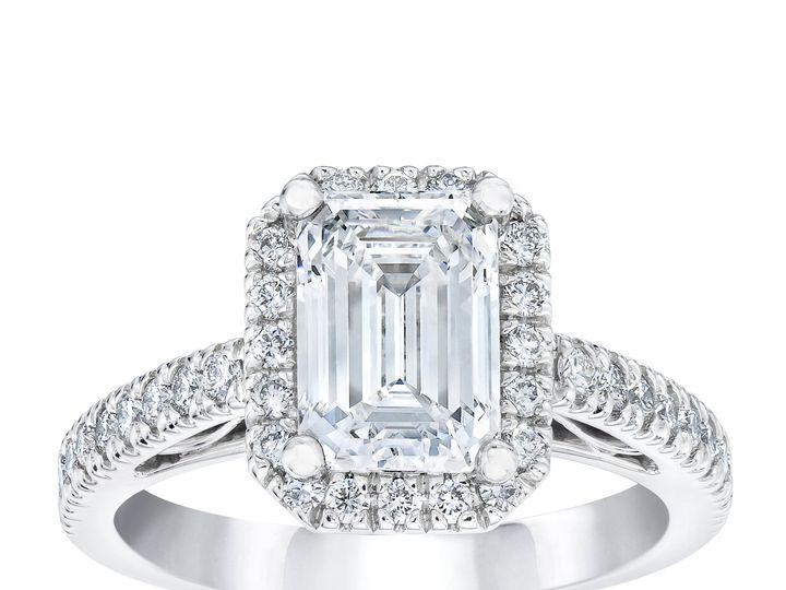 Tmx 6683 Emerald Diamond Halo Ring Standing 51 801673 159776313732263 South Orange, NJ wedding jewelry
