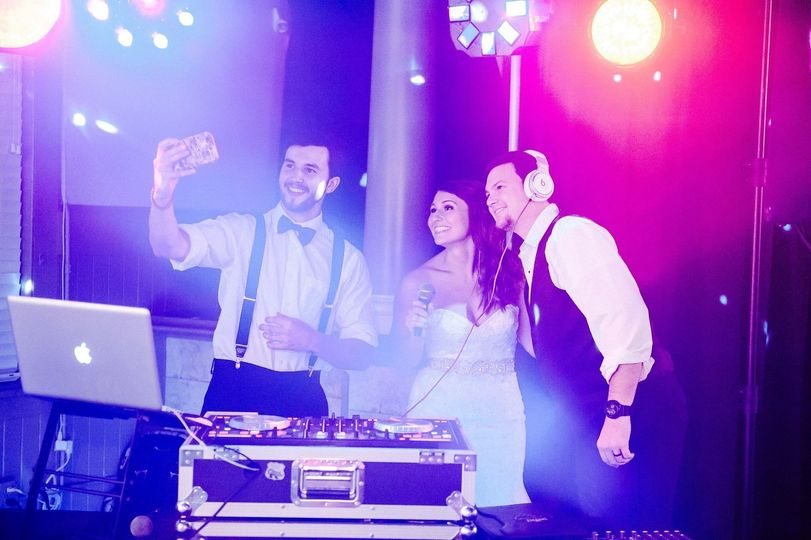 DJ booth with colorful lighting