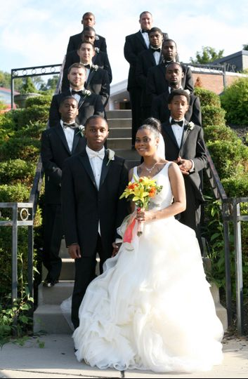 Couple and the groomsmen