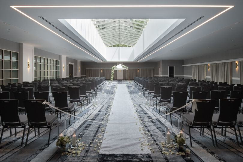 Seated ceremony - atrium ballroom, wedding venue