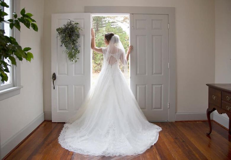 Bride by the front entrance