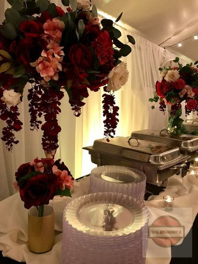 Dinner buffet with decor