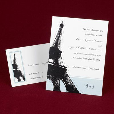 The Eiffel Tower stands tall beside your wording on this white and light blue, non-folding...