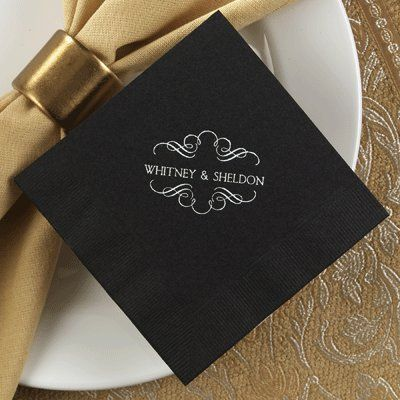 """These supersoft black napkins are available in cocktail (4 3/4"""" square) and luncheon (6 1/2"""" square)..."""