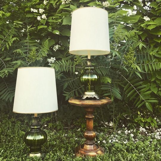Happy Hiccup Antique Green Lamps