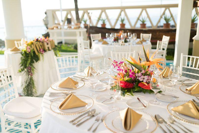 Wedding reception dinner table