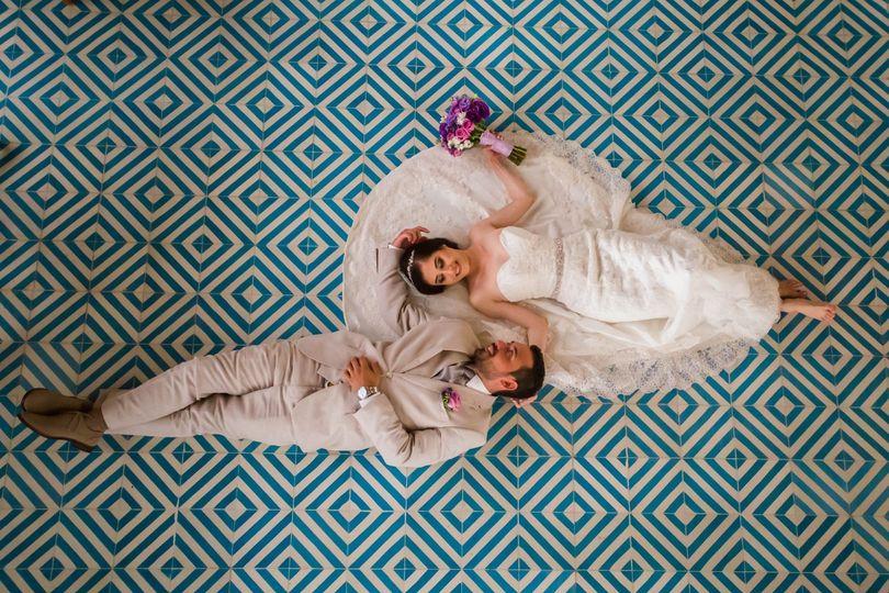 Couple on their wedding day