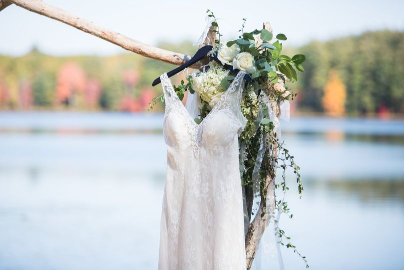 Bridal dress hanging