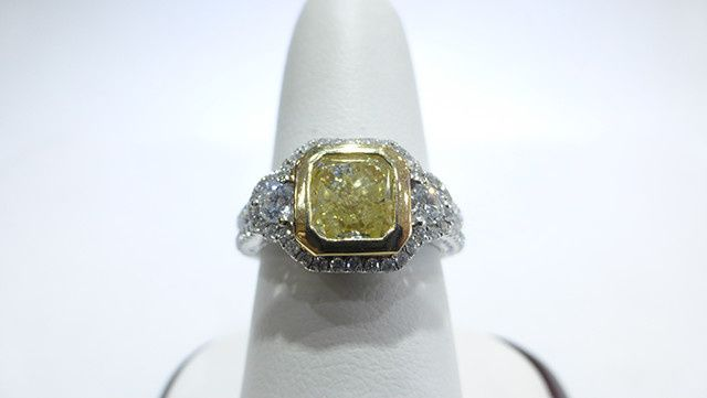 Natural Yellow Colored Diamond Ring