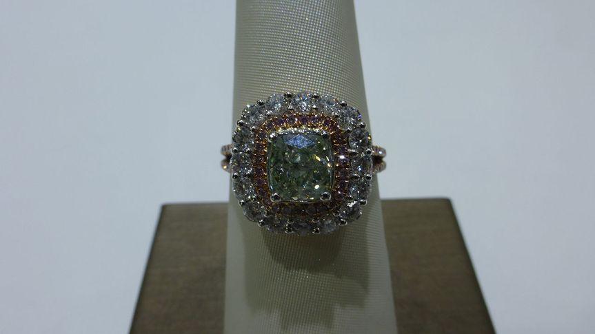 Natural Green Colored Diamond Ring