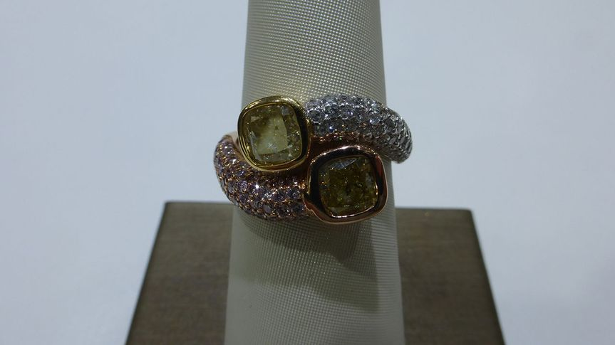 Two Tone Natural Colored Diamond Ring - Pink & Yellow