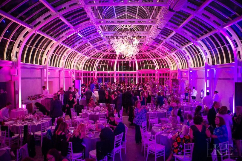 Reception hall in pink lighting