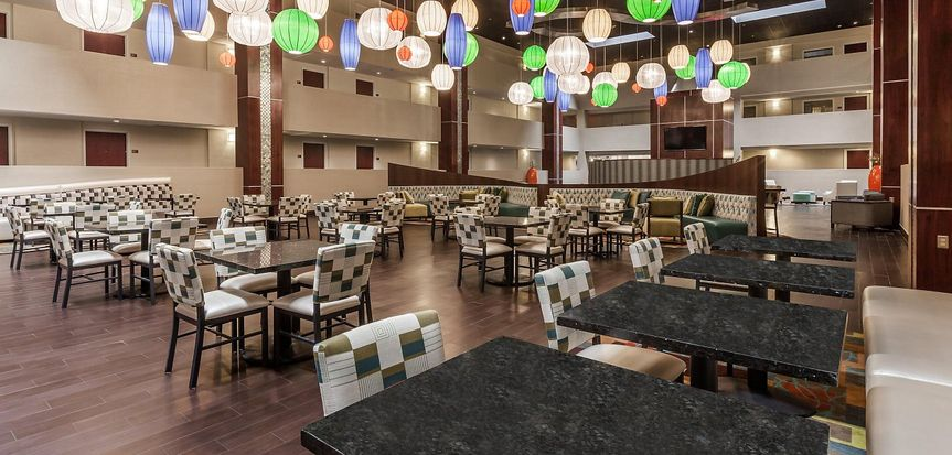 Dining area with inspiring colorful lanterns