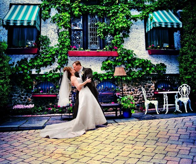 Bride & groom taken at the Woodcliff Manor. A european feel to the photo.