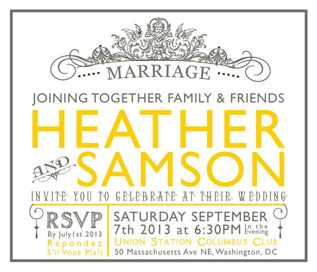 wedding invite heather and sam