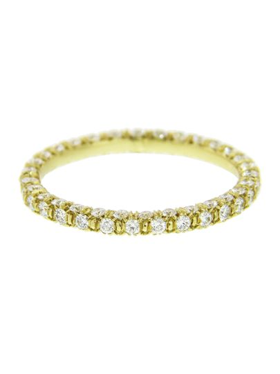 This gorgeous band from Finn is quite the stunner with three rows of bright pave diamonds set in 18...